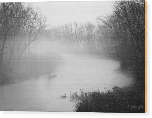 Fog Over The Stream Wood Print