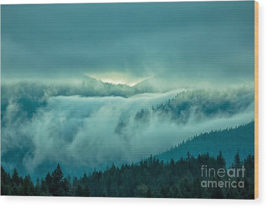 Fog Rolling Over The Montana Rocky Mountains Wood Print by Natural Focal Point Photography