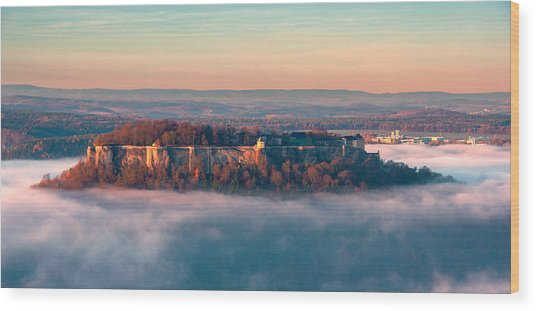 Fog Surrounding The Fortress Koenigstein Wood Print