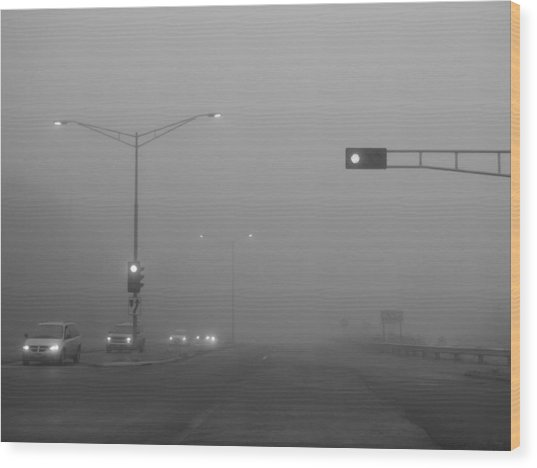 Fogged Commute Wood Print by Wild Thing