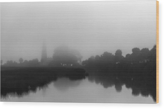 Fogged In Saint Mark's Lighthouse Wood Print