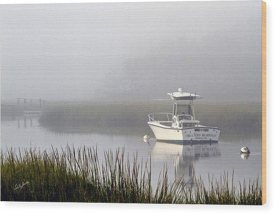 Foggy Anchor Wood Print by Carl Jacobs