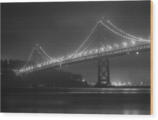Foggy Bay Bridge Wood Print