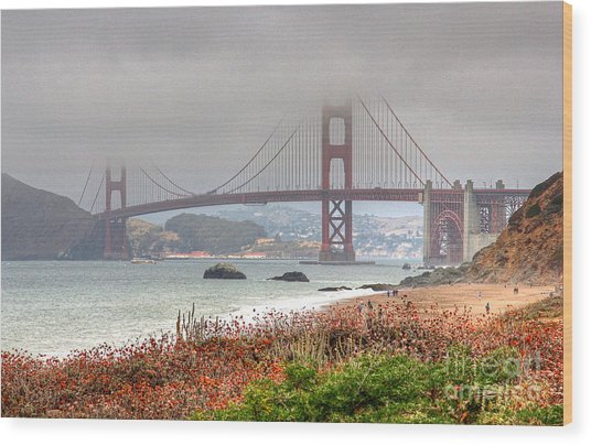 Foggy Bridge Wood Print