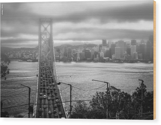 Foggy City Of San Francisco Wood Print