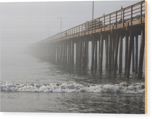 Foggy Dock Wood Print by Jim Young