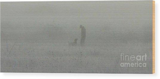 Foggy Dog Walk Wood Print