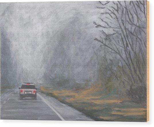 Foggy Drive Home Wood Print