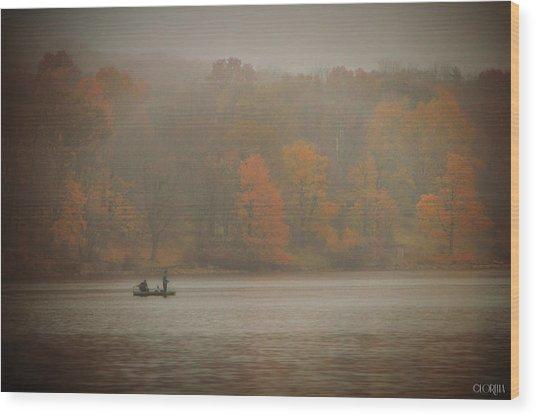 Foggy Fishing Wood Print