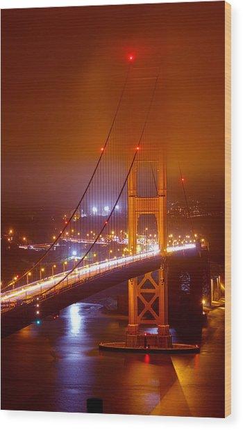 Foggy Golden Gate Wood Print