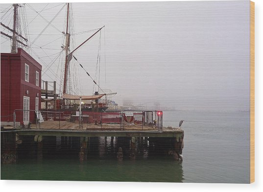 Foggy Harbor Wood Print