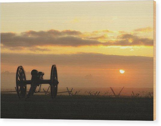 Foggy Morning Battlefield Wood Print