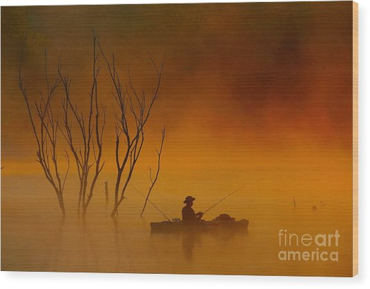 Foggy Morning Fisherman Wood Print