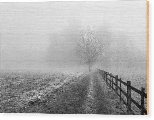 Foggy Morning. Wood Print