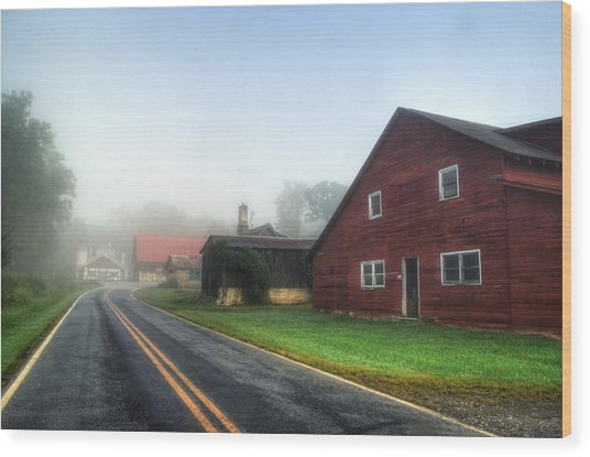 Foggy Morning In Brasstown Nc Wood Print