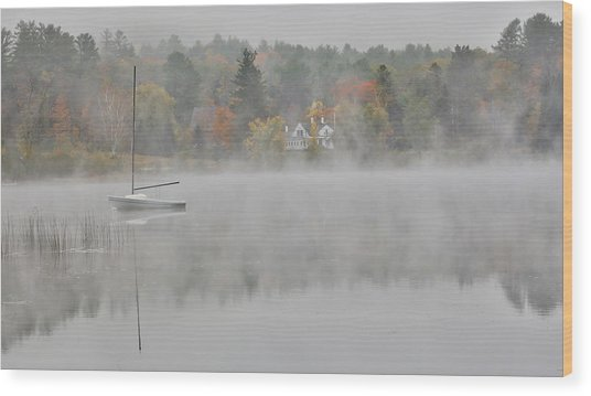 Foggy Morning Small Lake, New Hampshire Wood Print by Darrell Gulin