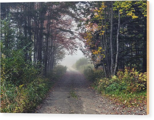Foggy Morning - Stowe Vermont Wood Print
