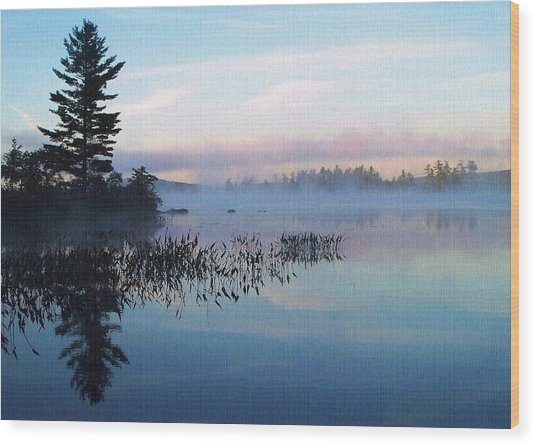 Foggy Morning's Chill -- On Parker Pond Wood Print