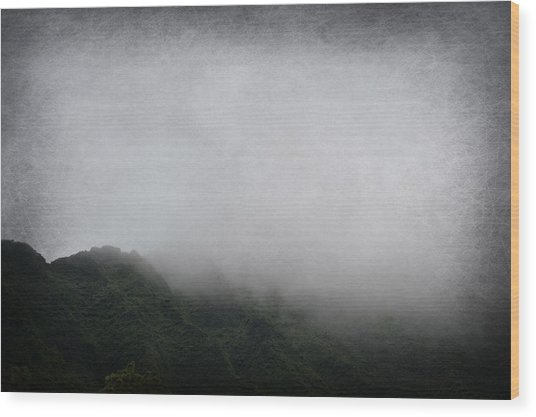 Foggy Mountain Wood Print