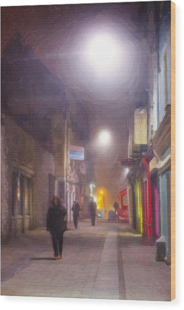 Foggy Night In The Heart Of Galway Wood Print by Mark Tisdale