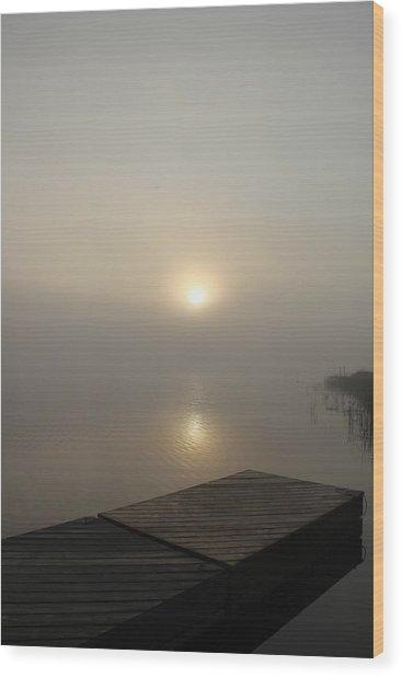 Foggy Reflections Wood Print
