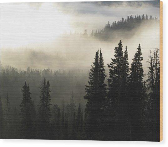 Foggy Sunrise At Yellowstone Wood Print