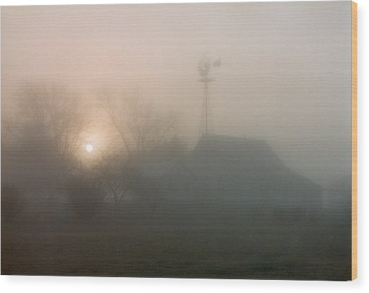 Foggy Sunrise Over Barn Wood Print