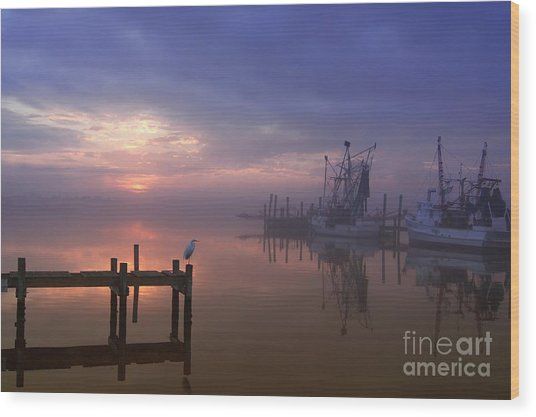 Foggy Sunset Over Swansboro Wood Print