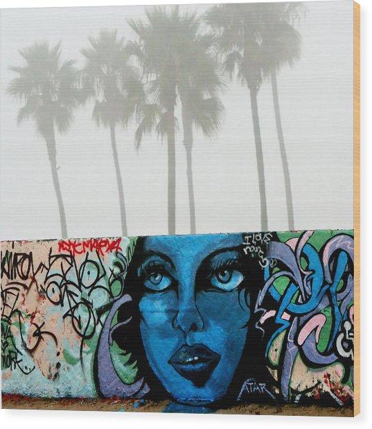 Foggy Venice Beach Wood Print