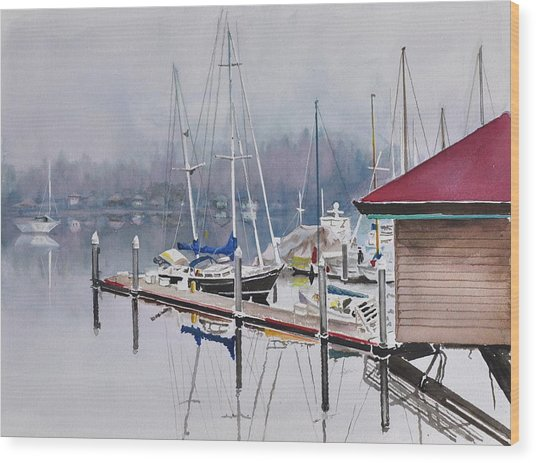 Foggy Dock Wood Print
