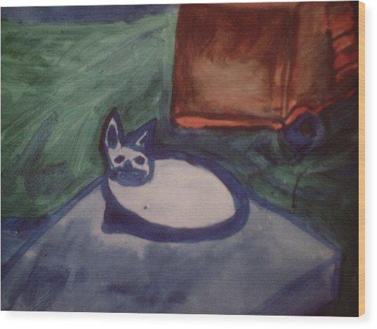 Folk Art Cat Wood Print