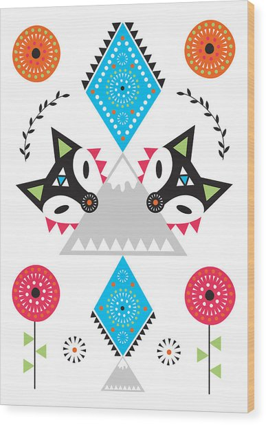 Folk Fox Wood Print