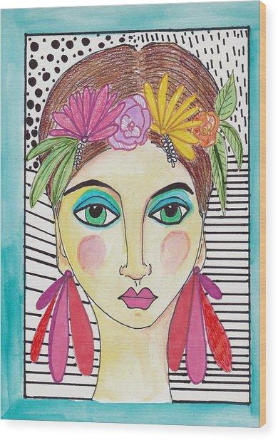 Folk Girl Pattern Wood Print