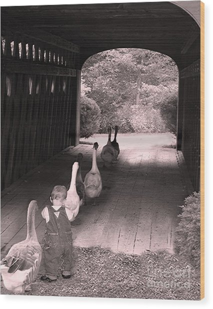 Follow The Leader Wood Print
