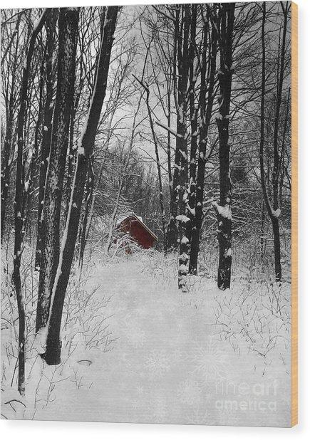 Follow The Snowflake Trail Wood Print