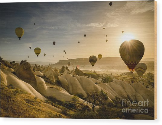 Follow The Wind - Cappadocia Turkey Wood Print by OUAP Photography