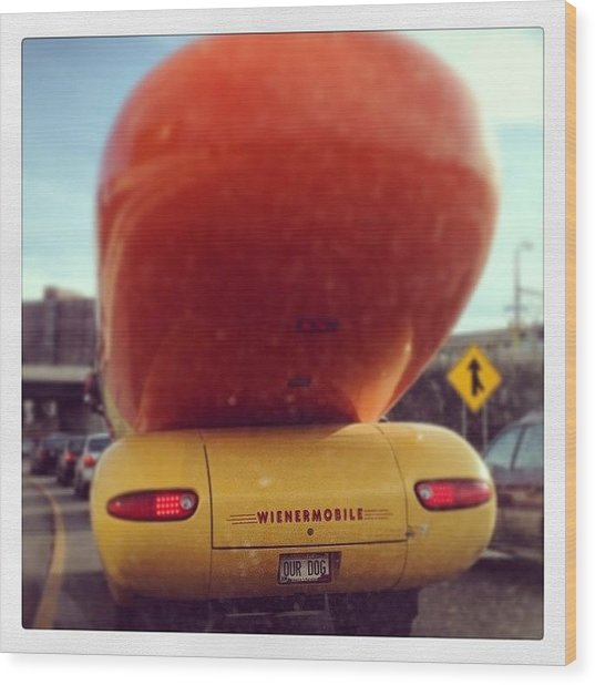 Following The Weinermobile Wood Print