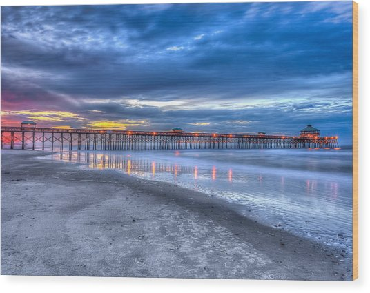 Folly Beach Fishing Pier Wood Print