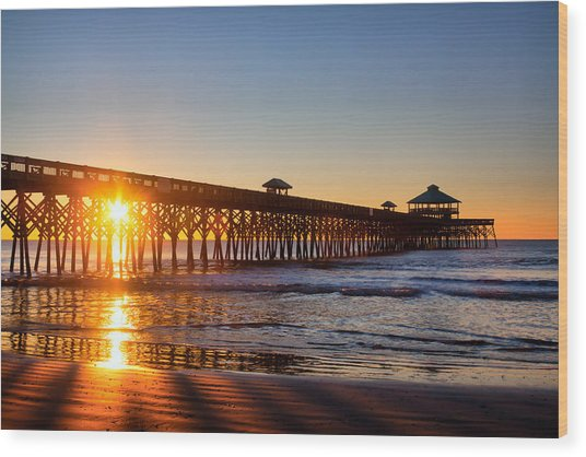 Folly Beach Pier At Sunrise Wood Print