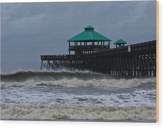 Folly Beach Pier During Sandy Wood Print