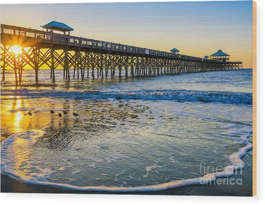 Folly Beach Sunrise Wood Print