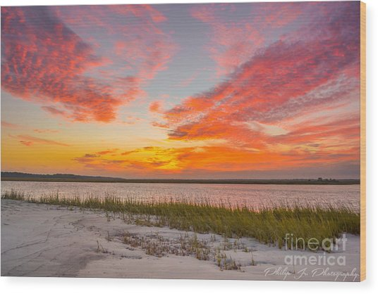 Folly October Sky X Sunset Wood Print by Philip Jr Photography