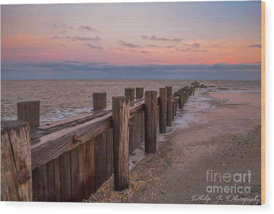 Folly Sunset Wood Print by Philip Jr Photography