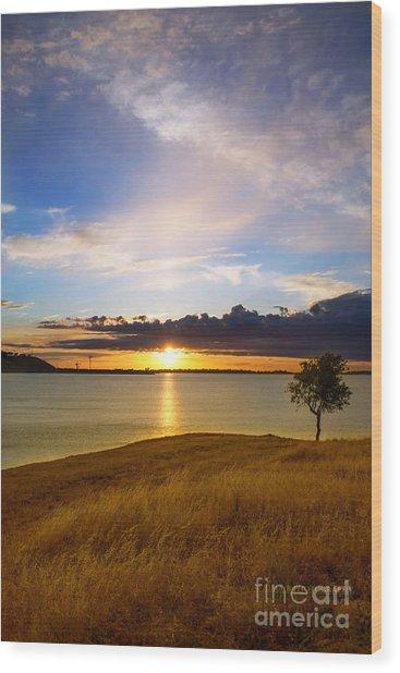 Folsom Lake Sunset Wood Print
