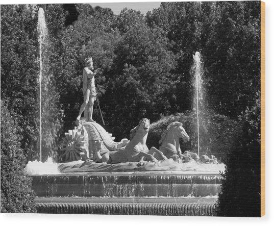 Fontana De Neptune - Madrid Wood Print by Jacqueline M Lewis