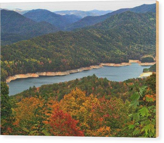 Fontana Lake In Fall Wood Print