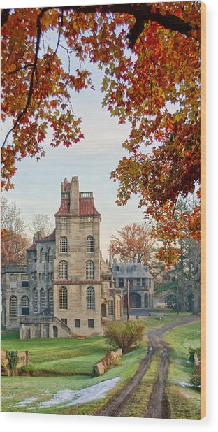 Fonthill Castle In The Fall Wood Print