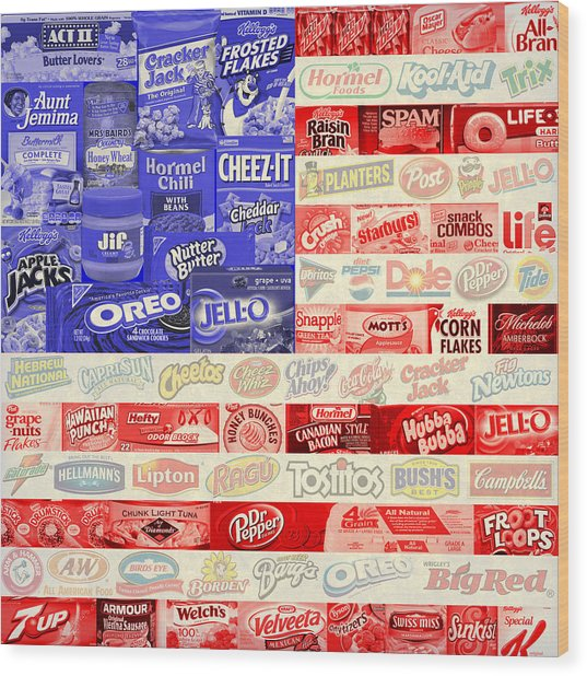 Food Advertising Flag Wood Print