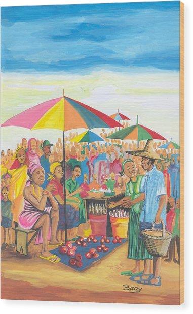 Food Market In Cameroon Wood Print