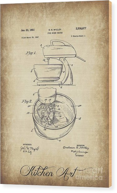 Food Mixer Patent Kitchen Art Wood Print